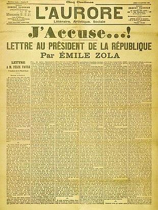 L'immagine rappresenta la prima pagina del quotidiano L'Aurore con la lettera J'accuse di Emile Zola