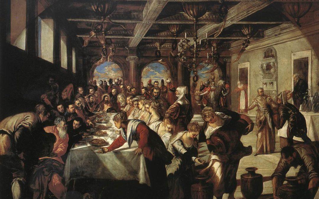 L'immagine raffigura le Nozze di Cana di Tintoretto