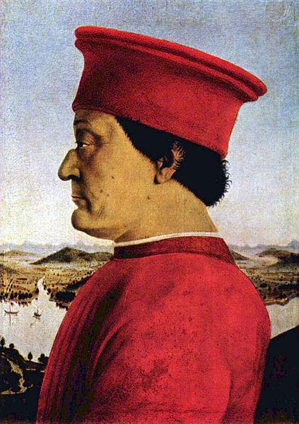L'immagina raffigura il Duca di Montefeltro, Piero della Francesca, Galleria degli Uffizi Firenze