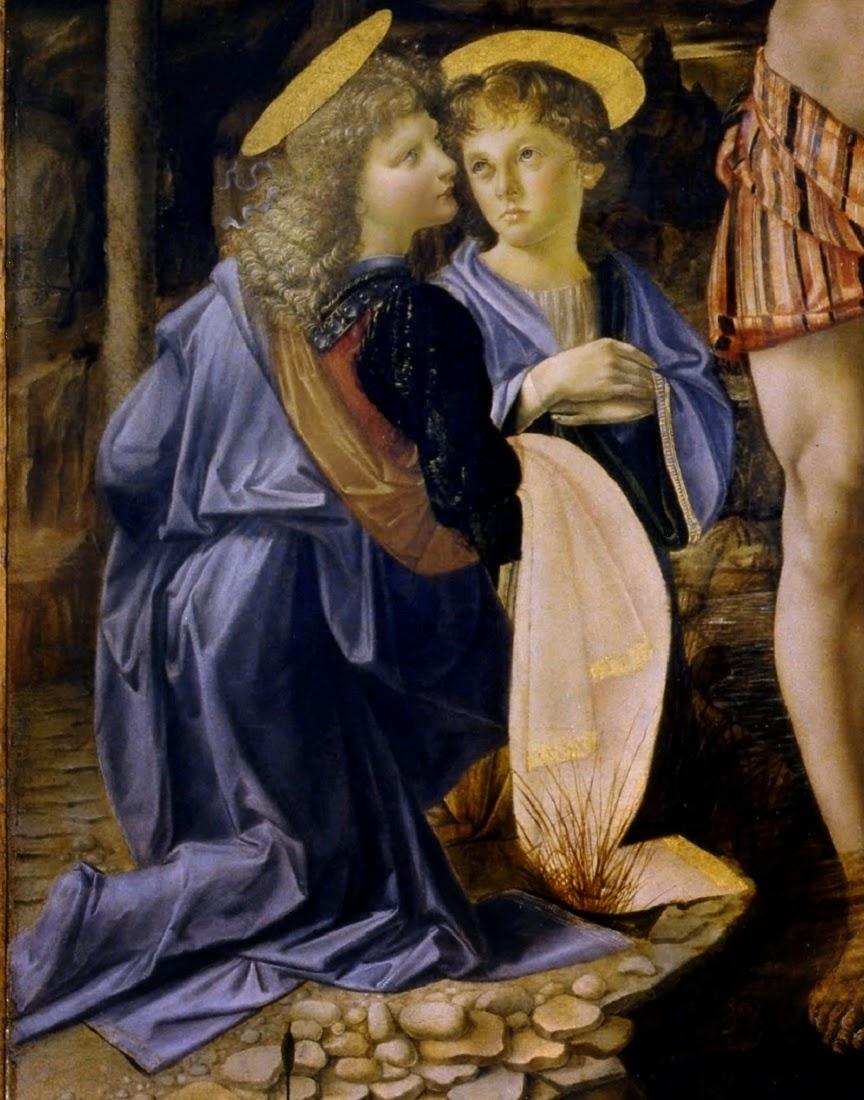 Particolare di due angeli dipinti da Leonardo nell'opera Battesimo di Cristo del Verrocchio