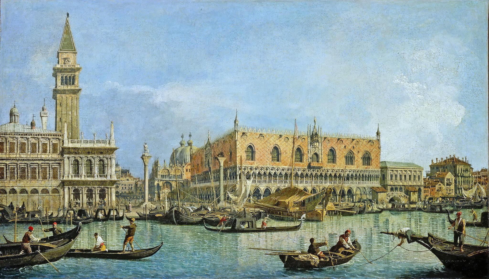 L'immagine rappresenta un dipinto diCanaletto, Venezia Palazzo Ducale, Mesée du Louvre Parigi