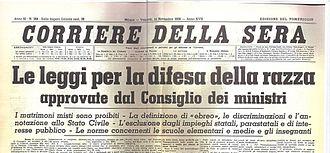L'immagine è la fotografia della testata del Corriere della Sera del 1938
