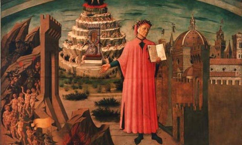 L'immagine raffigura Dante Alighieri che legge la Divina Commedia