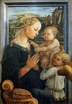 L'immagine rappresenta la Madonna con Bambino e angeli di Filippo Lippi