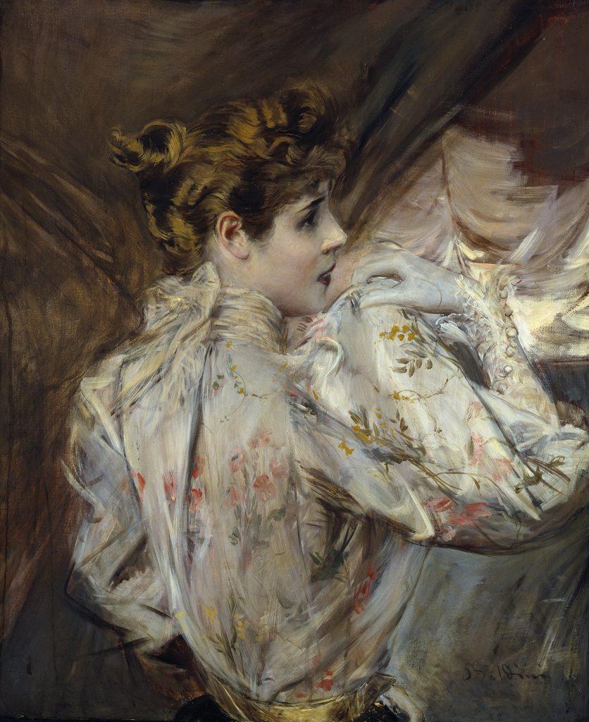 L'immagine raffigura il dipinto di Giovanni Boldini Giovane donna di profilo Eleonora Duse