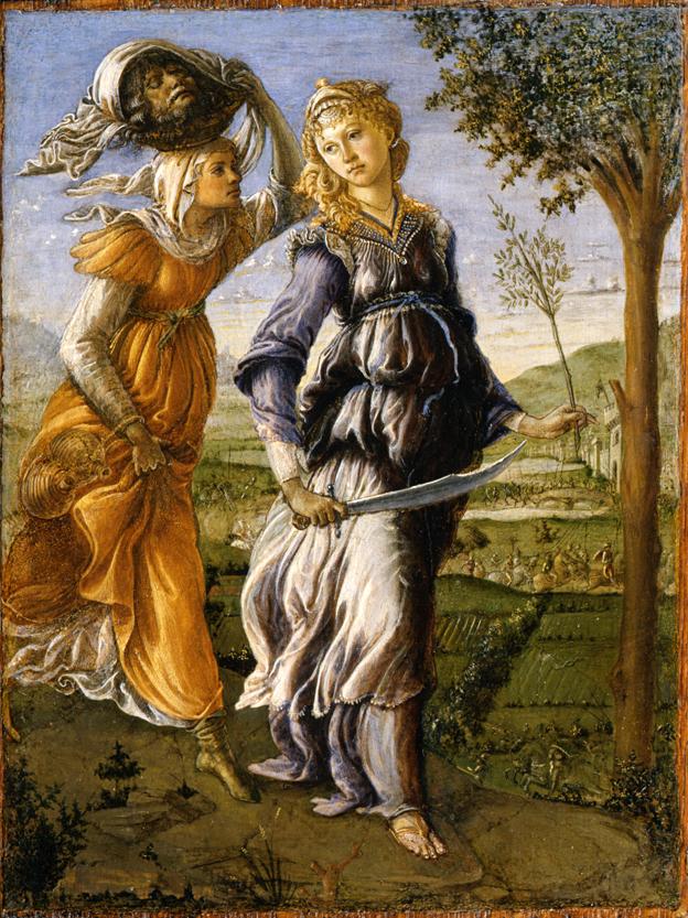 L'immagina raffigurala il dipinto Giuditta con la testa di Oloferne di Botticelli, Galleria degli Uffizi, Firenze