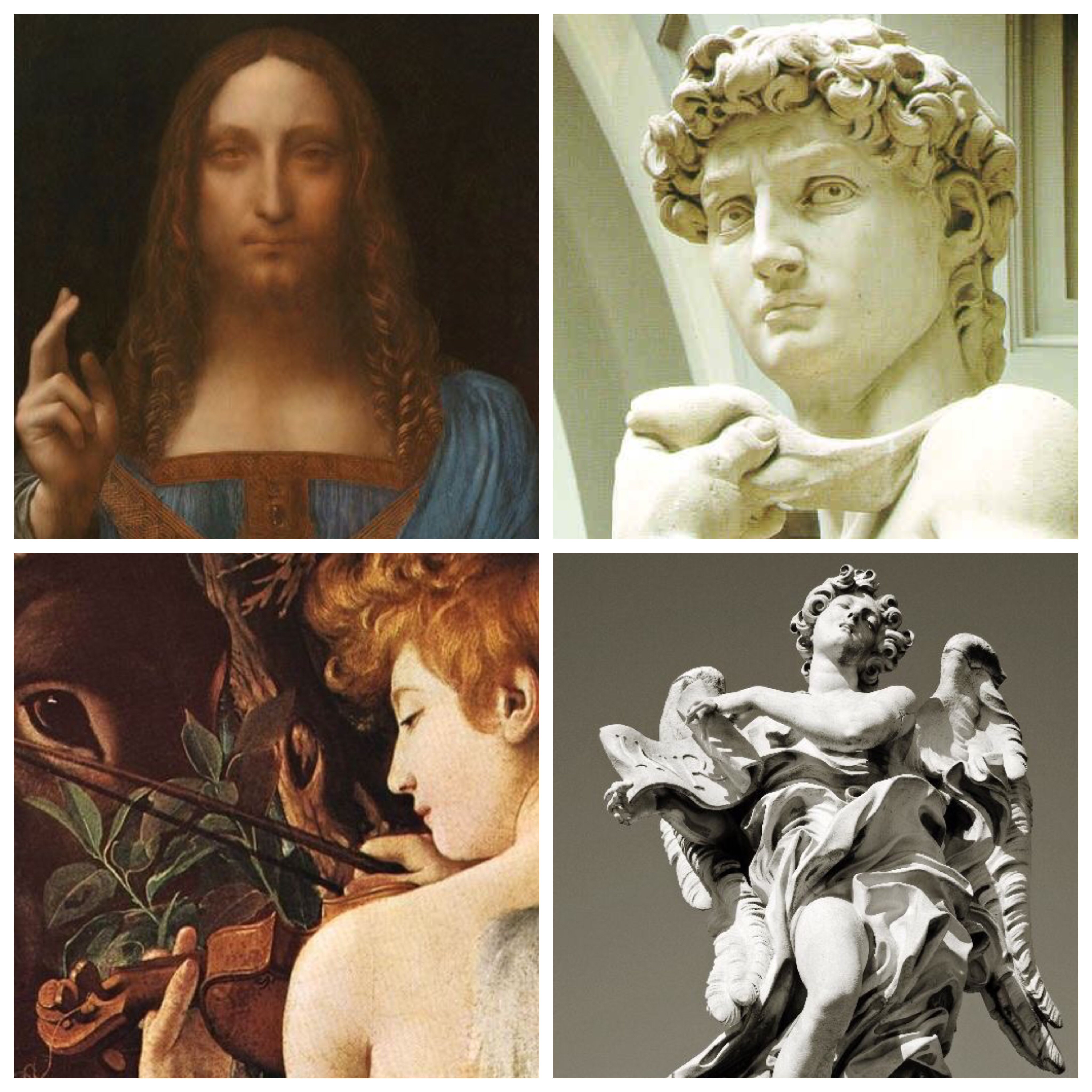 L'immagina raffigura il Salvador Mundi - Leonardo, David - Michelangelo, Fuga in Egitto (dettaglio) Caravaggio, Angelo - Bernini
