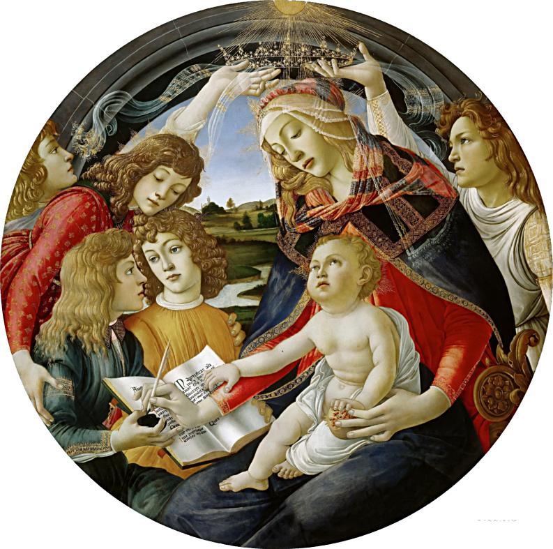 L'immagine rappresenta il dipinto la Madonna del Magnificat - Botticelli, Galleria degli Uffizi