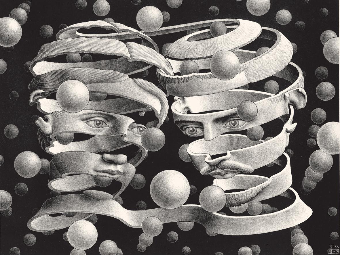 L'immagina raffigura la litografia Vincolo d'unione, Mauritius Cornelius Escher, 1956