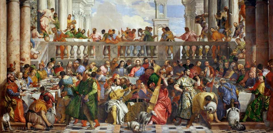 L'immagine raffigura le Nozze di Cana di Paolo Veronese