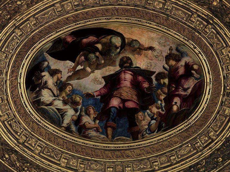 L'immagine raffigura il tondo San Rocco in Gloria di Tintoretto