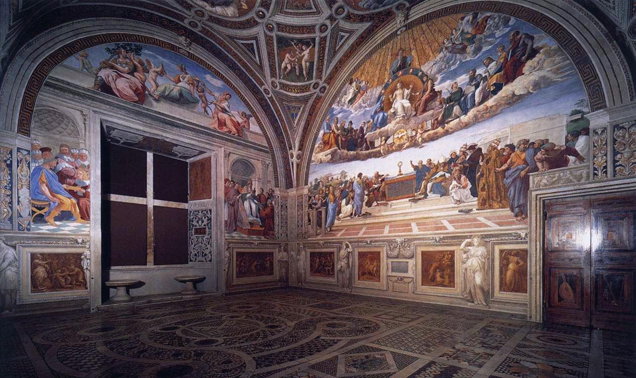 L'immagina raffigura la Stanza della Segnatura in Vaticano