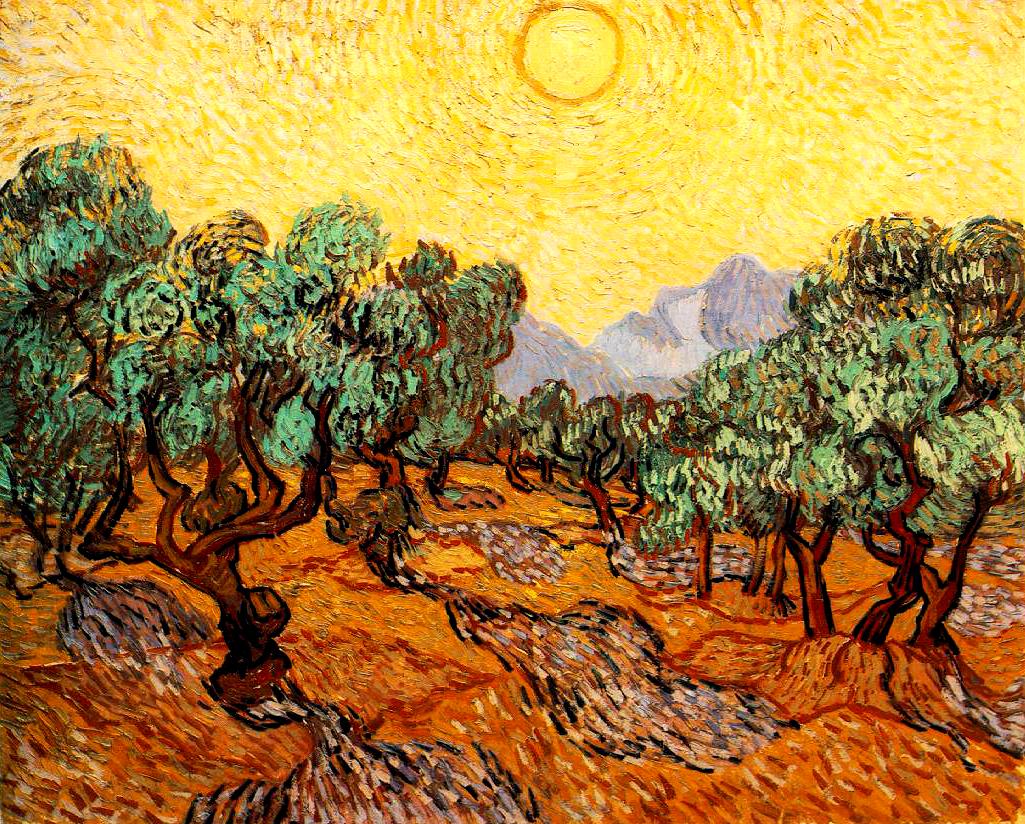 """L'immagine raffigura il dipinto """"Gli ulivi con cielo giallo e sole"""" di van Gogh"""