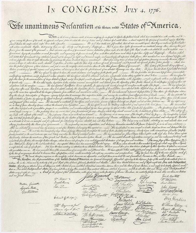 L'immagine raffigura la Dichiarazione d'indipendenza degli Stati Uniti d'America