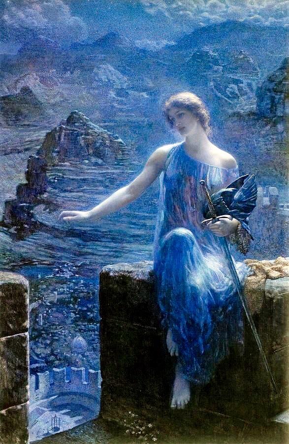 L'immagine rappresenta l'opera Valchiria di Edward Robert Hughes