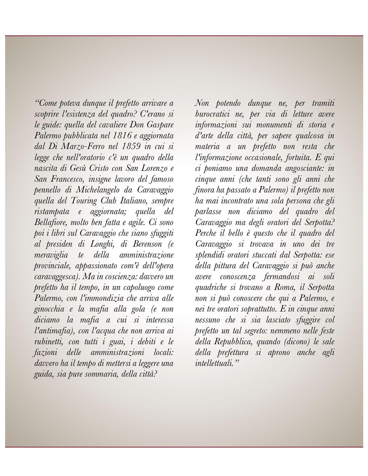 L'immagine riporta uno stralcio di un articolo di L. Sciascia scritto per il Corriere della Sera