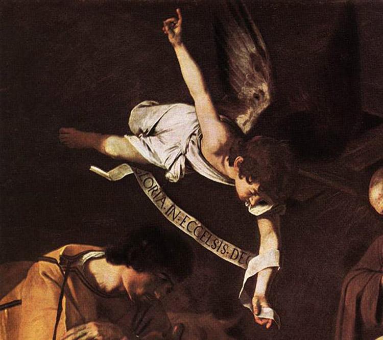 L'immagine raffigura un Particolare della Natività con i Santi Francesco e Lorenzo, Caravaggio