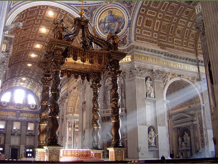 L'immagina raffigura la Basilica di San Pietro - il Baldacchino del Bernini, Roma