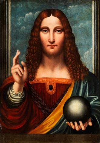 L'immagine rappresenta il Salvator Mundi dipinto da Bernardino Luini