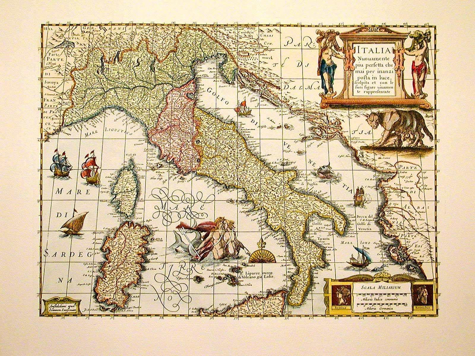 L'immagine rappresenta un'antica cartina dell'Italia