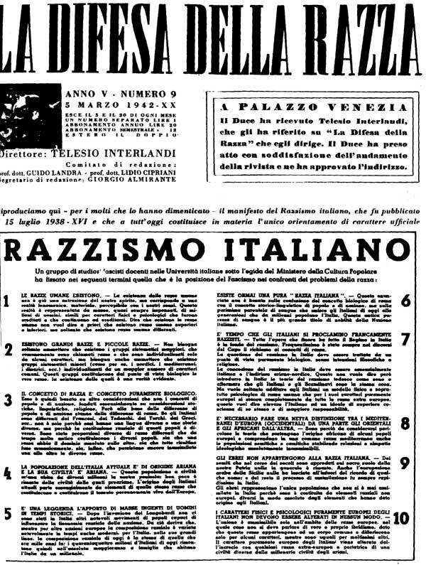 Fotografia del manifesto del razzismo italiano