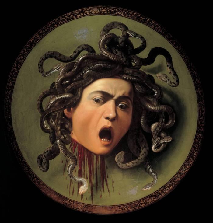 L'immagine raffigura la testa di Meduca di Caravaggio