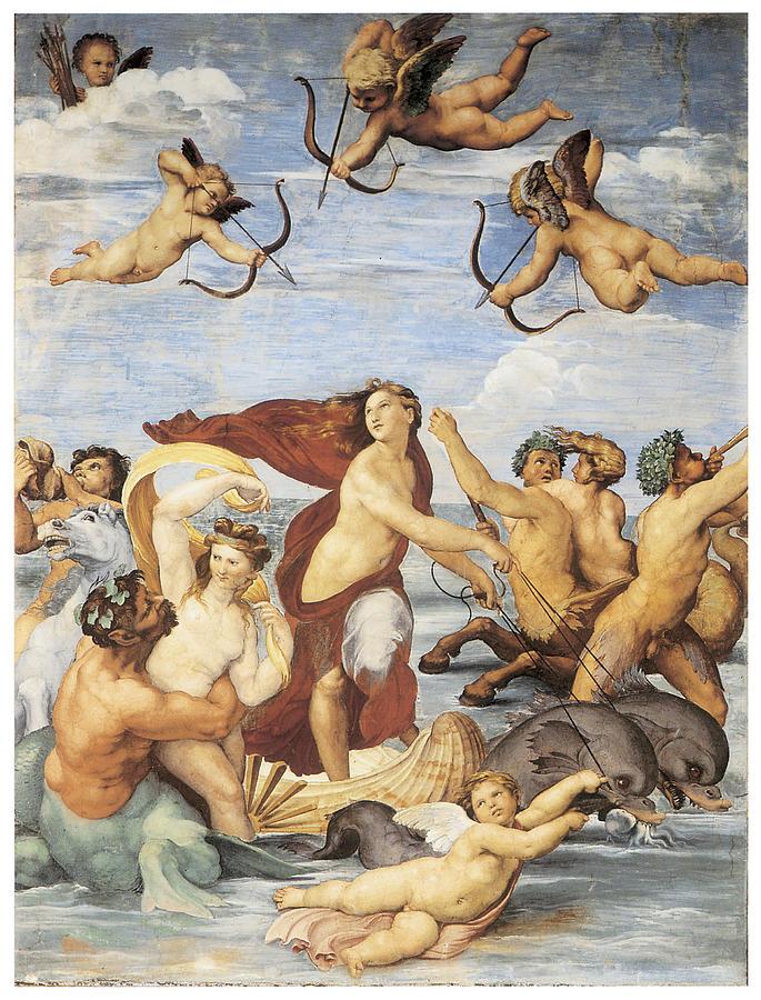 L'immagine rappresenta il Trionfo di Galatea - Raffaello, Villa Farnesina, Roma