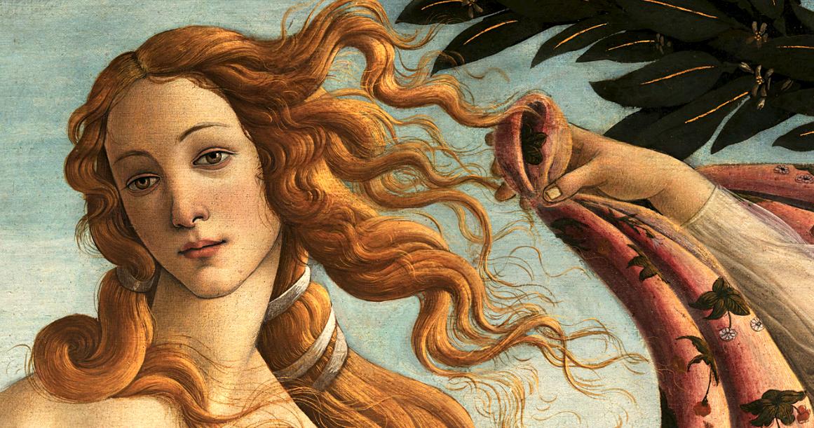 L'immagine raffigura unDettaglio della Venere di Botticelli, Galleria degli Uffizi, Firenze